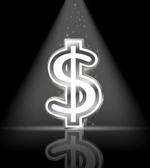 silver glossy dollar sign with spot light and little star