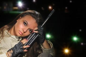 army girl in night lights