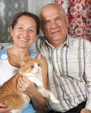 Retired Couple with   cat poster