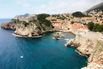 Dubrovnik coastline and the city walls