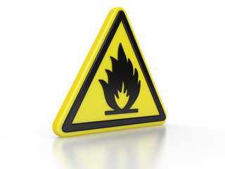 triangle flammable warning 3d sign