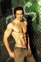 Shirtless male fashion model