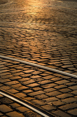 Sunset Paved Street with railroad, Europe