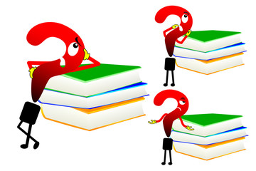 Various question mark and books