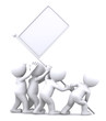 Group of people rising blank flag. Advertising concept