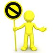 3d character with yellow STOP sign
