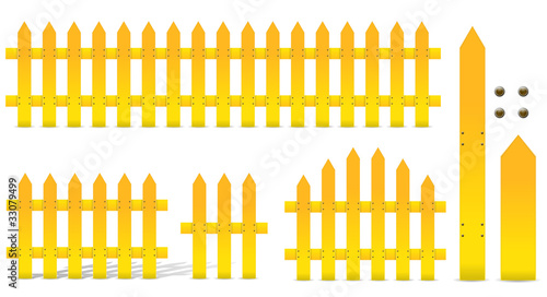 set of yellow fence isolated on white background