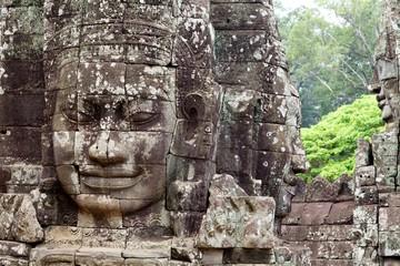 Stone Face Carving Bayon Temple Cambodia