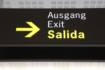 Exit sign in Valencia International Airport