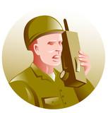 world war two soldier talking on walkie-talkie radio poster