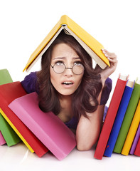 Girl with stack color book .