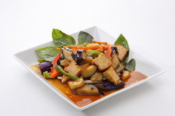 Eggplant stir fried with tofu