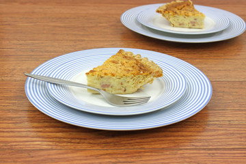 Servings of quiche lorraine