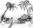 Seascape drawing with palm trees and surfboard
