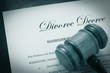 Divorce Decree document and legal gavel