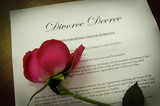 Divorce Decree document with wilted red rose poster