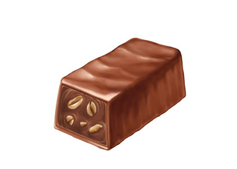 chocolate praline with cacao and peanuts