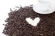 tasse de café sur fond de coeur