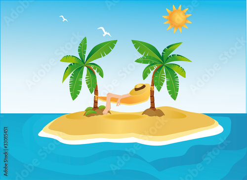 Sunny island with palms and hammock