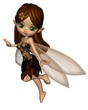 Cute Toon Fairy in Brown and Gold Flower Dress