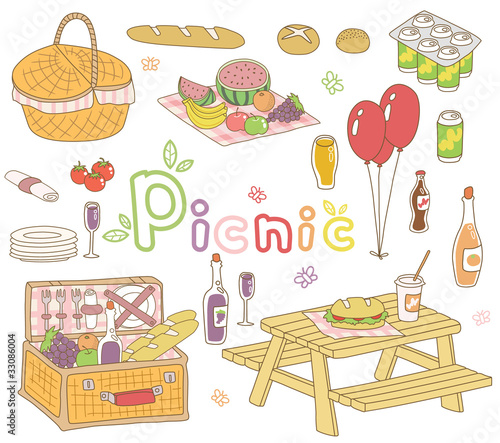 a vector set of picnic goods - 33086004