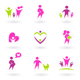 Maternity, pregnancy and health icons isolated on white poster