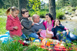 Young family having picnic by the river