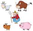 Farm Animals Cartoon Characters With Farmer Vector Set