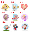 Funny Cartoon Alphabet Collection 1