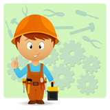 Cartoon handyman with tools on industry background