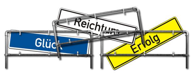 Wegweiser, Konzept, Glück - Erfolg - Reichtum