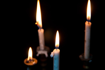 the candlelight on black ground
