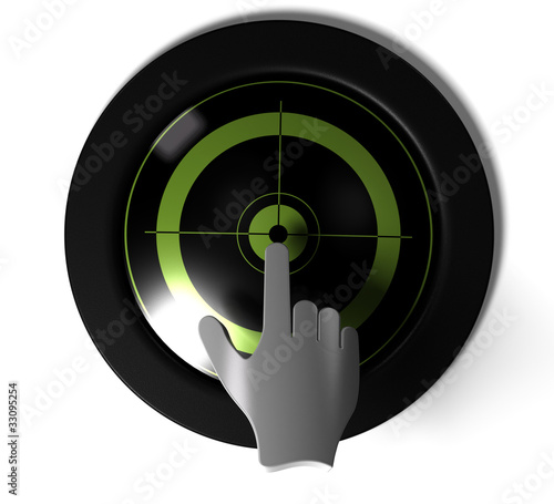 round button with green target inside with a 3D hand