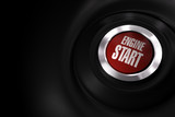 red engine start button over a black background