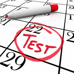 Test Day Circled on Calendar - Nervous for Exam