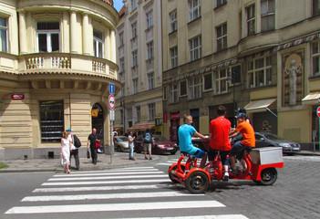 Prague, Czech Republic multi person bike tourist