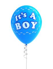 It's a boy party balloon over white background