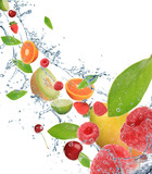 Fresh fruit in motion - 33096868