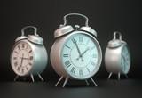 Three alarm clocks - Time passing concept illustration poster