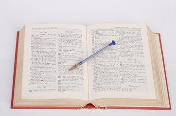 syringe and dictionary