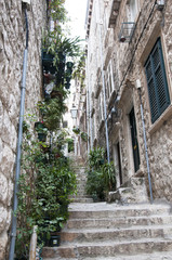 Narrow streets of the Walled City of Dubrovnic Croatia