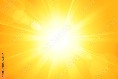 Bright vector sun with lens flare - 33099637