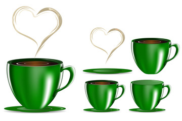 set of green coffee cup with heart smoke isolated on white