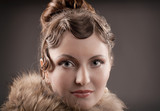Woman retro revival portrait. poster