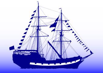Ship on sky