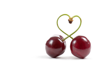 cherries with heart-shaped stem