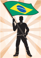 sports fan with flag of Brazil