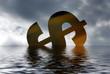 Dollar symbol versinkt im Wasser