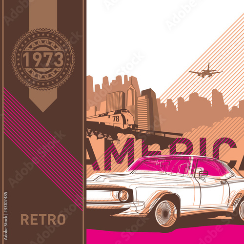 Illustrated retro background in american style.
