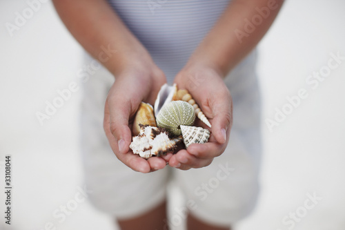 Close up of girl holding seashells